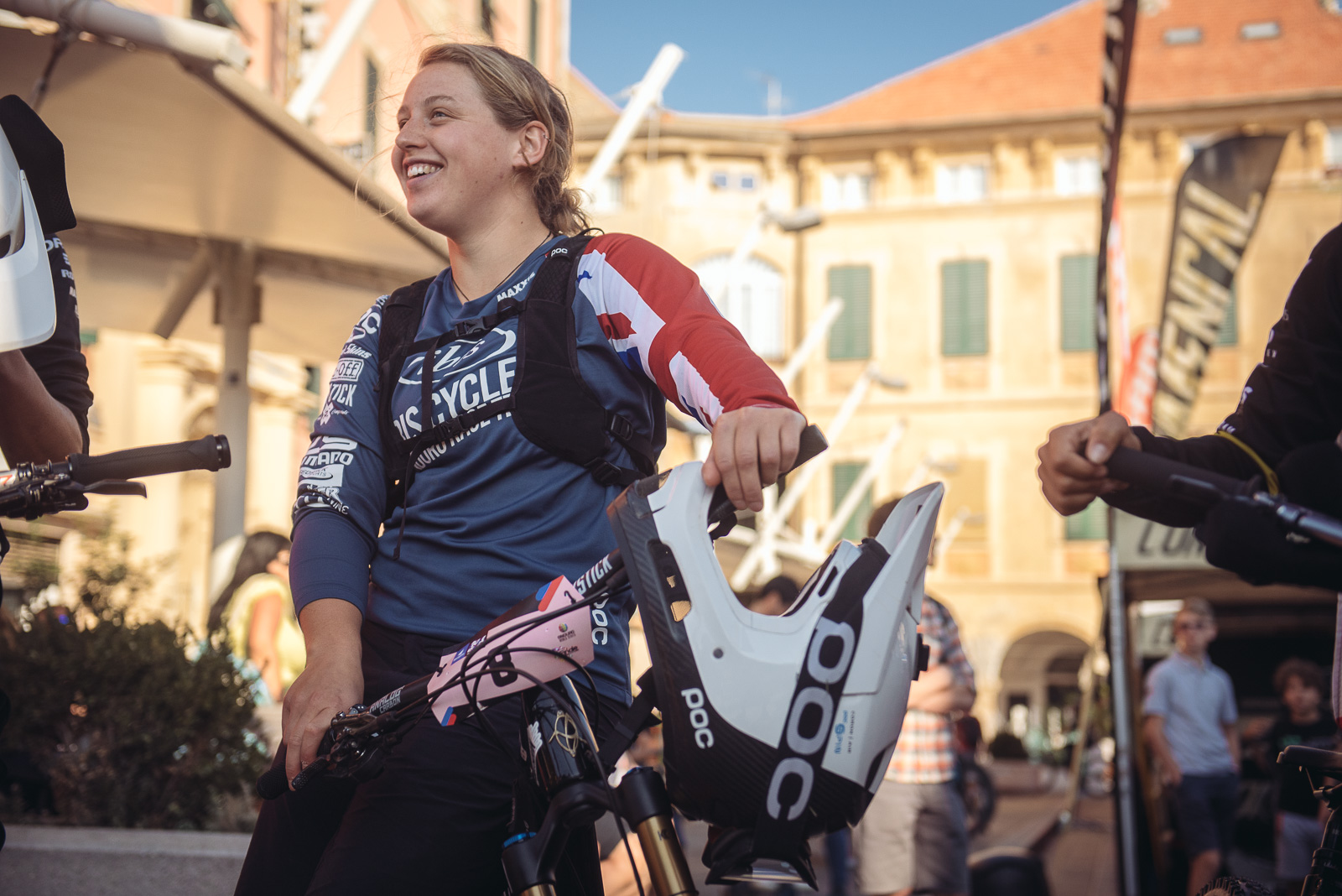 Bex with her national champion jersey in Finale Ligure EWS Sept 2018. Photo Credit: Dave Trumpore